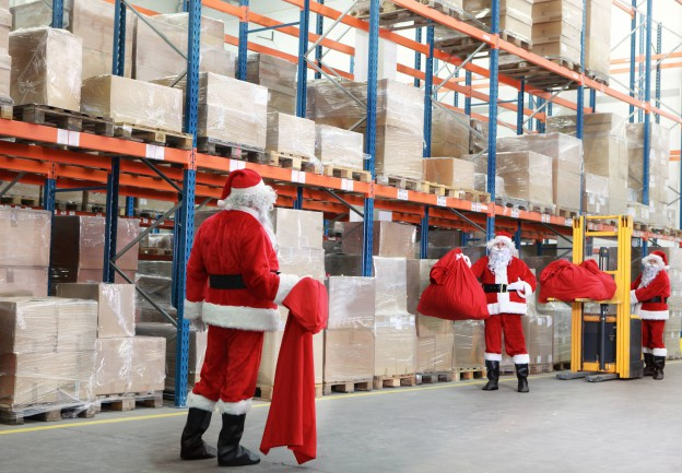 Santa Claus' in a warehouse
