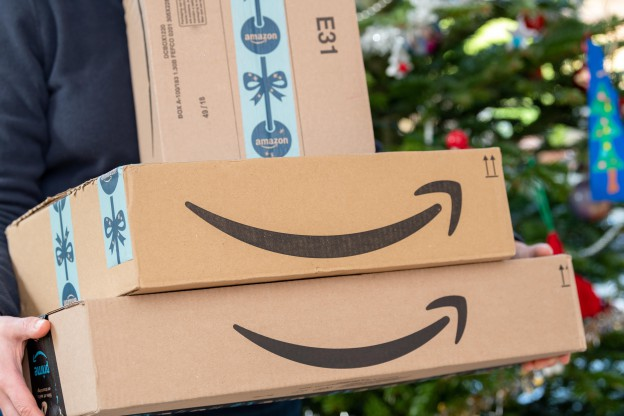 An Amazon Prime package delivered to a residential home